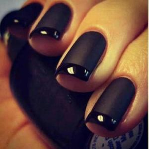 An outfit is NEVER complete without the perfect nail varnish! Try the Matte Black look with shiny tips.. Kim Kardashian has!